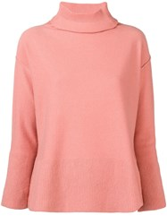 Antonelli Turtleneck Fine Knit Sweater Pink And Purple