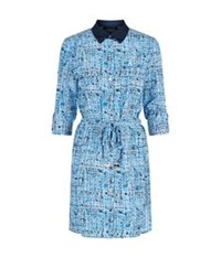Juicy Couture Tweed Print Silk Shirt Dress Blue