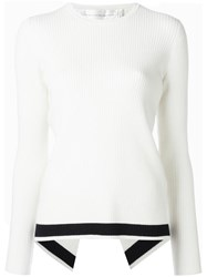 Victoria Beckham Stripe Detail Ribbed Jumper White