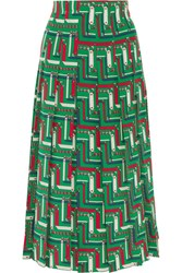Gucci Pleated Printed Silk Crepe De Chine Skirt Emerald