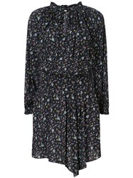 Zadig And Voltaire Short Floral Print Dress Black