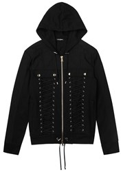 Balmain Black Lace Up Cotton Sweatshirt