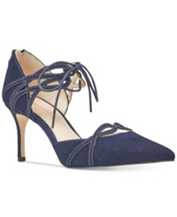 Nine West Mayef Lace Up Dress Pumps Women's Shoes Navy