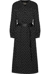 Current Elliott The Willow Faux Leather Trimmed Printed Crepe Midi Dress Black
