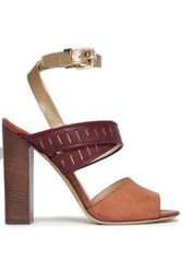 Etro Laser Cut Leather Sandals Light Brown