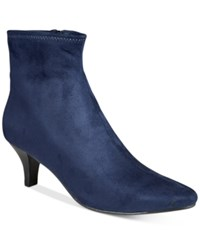 Impo Neil Pointed Toe Booties Women's Shoes Midnight Blue Suede