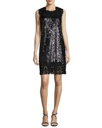 Kobi Halperin Sleeveless Sequin And Lace Shift Dress Hematite