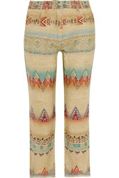 Etro Printed Silk Blend Canvas Straight Leg Pants Nude