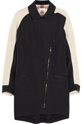 O'2nd Crepe Paneled Linen And Cotton Blend Coat Midnight Blue