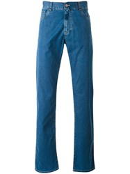 Canali Regular Fit Jeans Men Cotton Polyester 58 Blue