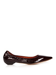 Lanvin Python Effect Patent Leather Flats