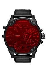 Dieselr Men's Diesel Crystal Mr. Daddy 2.0 Chronograph Leather Strap Watch 57Mm X 66Mm Red Black