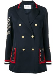 Valentino Embroidered Double Breasted Blazer Blue