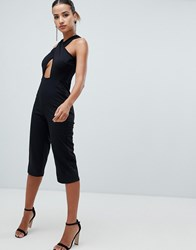Ax Paris Cross Front Straight Leg Jumpsuit Black