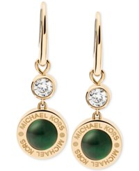 Michael Kors Colored Imitation Mother Of Pearl Drop Earrings Green Gold