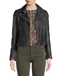 Lamarque Loni Studded Leather Cropped Moto Jacket Black