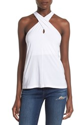 Leith Women's Crossover Halter Tank White