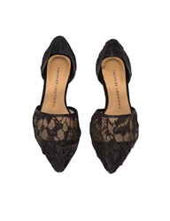 Pixie Market Black Pointy Lace Flats
