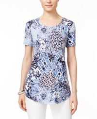 Jm Collection Petite Printed Short Sleeve Top Only At Macy's Light Blue