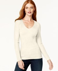 Inc International Concepts Petite Ribbed V Neck Sweater Only At Macy's Washed White
