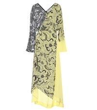 Diane Von Furstenberg Printed Silk Maxi Dress Yellow