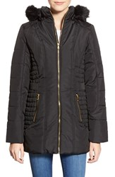 Junior Women's Celebrity Pink Quilted Coat With Faux Fur Trim Jet Black