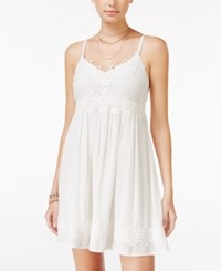 American Rag Crochet Trim Crisscross Strap Dress Only At Macy's White