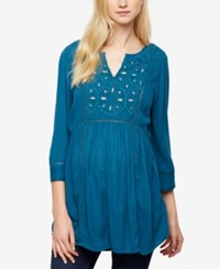 A Pea In The Pod Maternity Embroidered Tunic Teal Mist