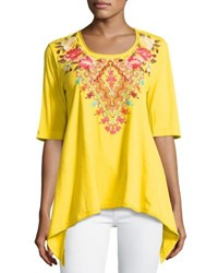 Johnny Was Floral Embroidered Trapeze Tee Yellow