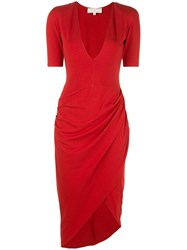 Fleur Du Mal Draped Midi Dress Red