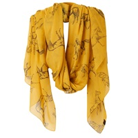 Joules Wensley Horse Print Scarf Gold