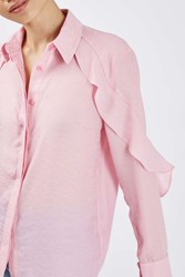 Boutique Ruffle Jacquard Shirt By Pale Pink
