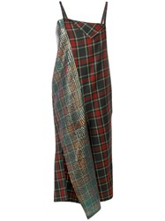 Comme Des Garcons Junya Watanabe Plaid Print And Sequin Panelled Jumpsuit Wool Green