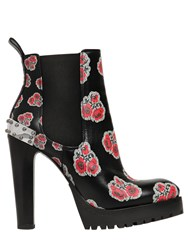 Alexander Mcqueen 130Mm Flower Print Leather Boots
