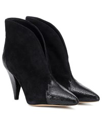 Isabel Marant Archee Suede And Leather Ankle Boots Black