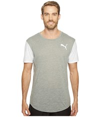 Puma Dri Release Color Block Tee Medium Gray Heather White Heather Men's T Shirt