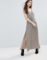 Goldie Long Island Cherry Blossom Printed Maxi Slip Dress With Side Splits And Waist Tie Multi