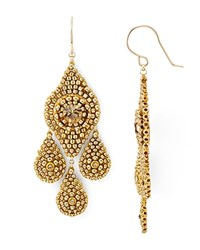 Miguel Ases Beaded Chandelier Drop Earrings Gold