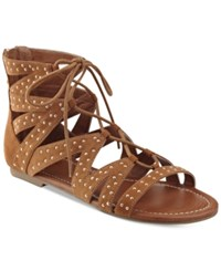 G By Guess Leidah Lace Up Gladiator Sandals Women's Shoes Cognac