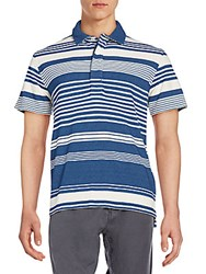 Billy Reid Variegated Stripe Polo Shirt Dark Indigo