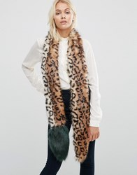 Urbancode Faux Fur Leopard Skinny Scarf With Contrast Tail Leopard Green Brown