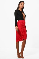 Boohoo Rouched Front Jersey Midi Skirt Red