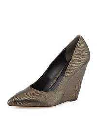 Pour La Victoire Metallic Lizard Dress Wedge Bronze