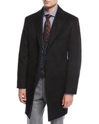 Neiman Marcus Single Breasted Cashmere Top Coat Black
