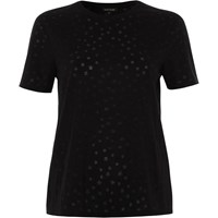 River Island Womens Black Star Print Burnout T Shirt