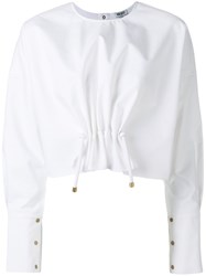 Kenzo Gathered Front Blouse Women Cotton 36 White