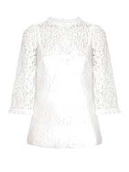 Dolce And Gabbana Scallop Edged Hem Lace Blouse White
