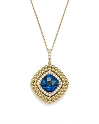 Bloomingdale's London Blue Topaz And Diamond Beaded Pendant Necklace In 14K Yellow Gold 16 Blue Gold