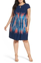 Tahari Plus Size Women's Flame Print Jersey Sheath Dress