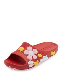 Prada Rubber Flower Slide Sandal Black